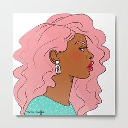 Pink Hair, Red Lips Metal Print