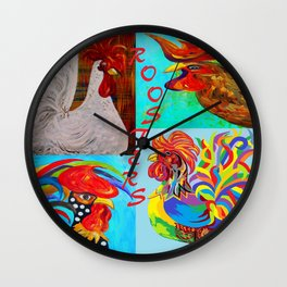 Rooster Menagerie Wall Clock