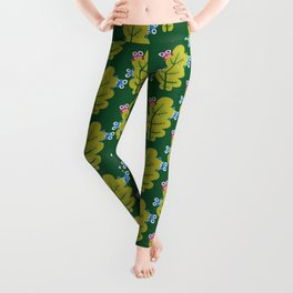 Bugs Eat Green Leaf Leggings