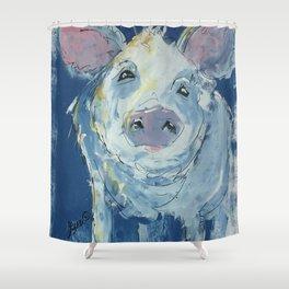 Denim Pig Shower Curtain