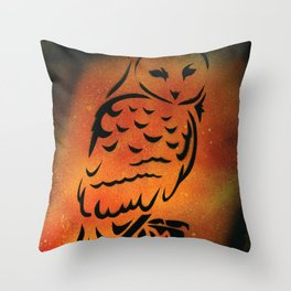 Orange Owl Throw Pillow