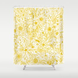 Yellow Floral Doodles Shower Curtain