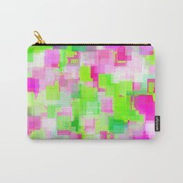 geometric square pattern abstract background in pink and green Carry-All Pouch