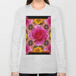 Fuchsia Pink Rose Patterns Sunflower Floral Black Art Long Sleeve T-shirt