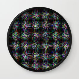 Cyber atomic flowers on black background Wall Clock