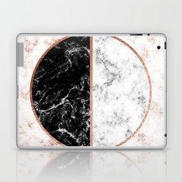 Marble black and white circle Laptop & iPad Skin