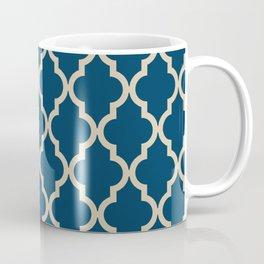 Moroccan Quatrefoil Pattern: Dark Blue & Beige Coffee Mug