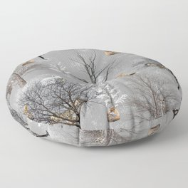 Owls and Foxes in Snowy Trees Floor Pillow