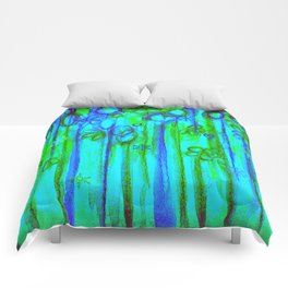 WINTER GARDEN -Bright Blue Green Neon Snowflake Floral Abstract Watercolor Painting and Digital Art Comforters