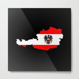 Austrian Flag and Map Metal Print