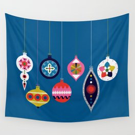 Retro Christmas Baubles on a dark background Wall Tapestry
