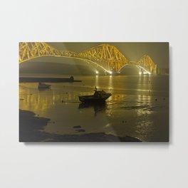 Forth Road Bridge, at night Metal Print