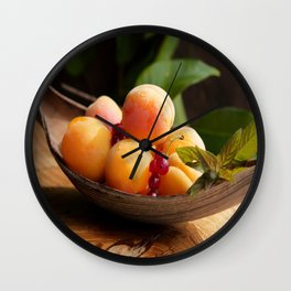 Fresh Apricots on Tabel Wall Clock
