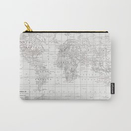 World Map ~ White on White Carry-All Pouch