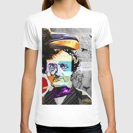 Edgar Allan Poe Collage Portrait by Michel Keck T-shirt