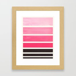 Pink Minimalist Mid Century Modern Color Fields Ombre Watercolor Staggered Squares Framed Art Print