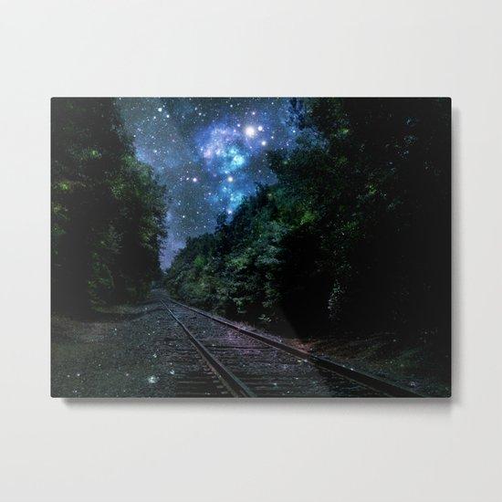 Train Tracks : Next Stop Anywhere Blue Side View Metal Print