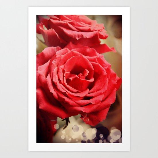 Romantic Roses and Light spots Art Print