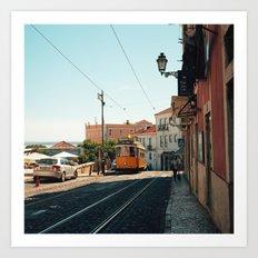 Lisbon yellow tram, Portugal Analog 6x6 Kodal Ektar 100 (RR 167) Art Print