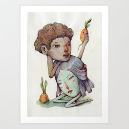 Melancholy pair and potato-carrots  Art Print