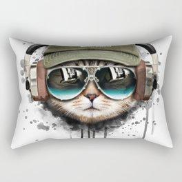 Watercolor cat listening a music illustration. Rectangular Pillow