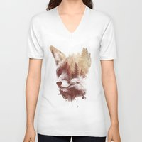 fox V-neck T-shirts featuring Blind fox by Robert Farkas