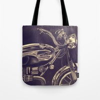 motorcycle Tote Bags featuring motorcycle by Grettyworks