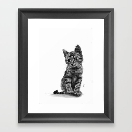 Kitty - PENCIL DRAWING Framed Art Print