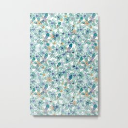 Flower Power | Green and Gold Palette Metal Print