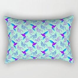 Pretty beautiful cute purple blue hummingbirds, delicate twigs, leaves pastel green lovely pattern Rectangular Pillow