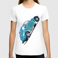 volkswagon T-shirts featuring Blue VW Bug by Regan's World