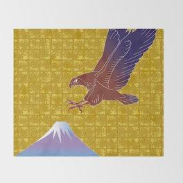Eagle and Mt,Fuji on Gold-leaf Screen Throw Blanket