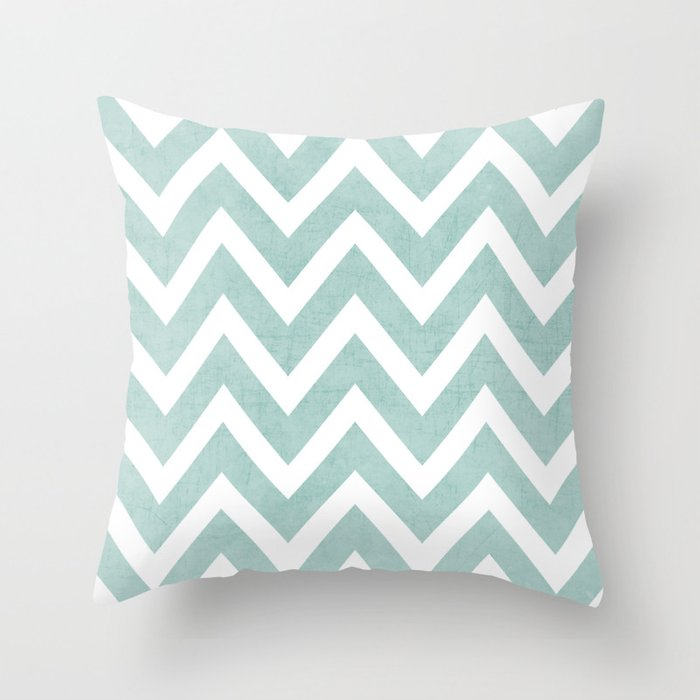 robins egg blue chevron Throw Pillow