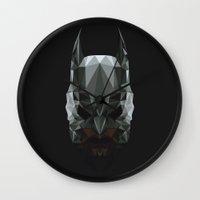 bat man Wall Clocks featuring Bat man by Fabio Piazzi
