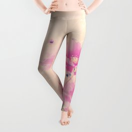 Pastel Pink Flowers mixed media art Leggings