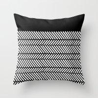 herringbone Throw Pillows featuring Herringbone Boarder by Project M