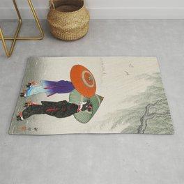 Women walking in the rain - Vintage Japanese Woodblock Print Rug