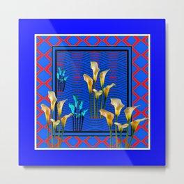 Blue Art White Calla Lilies Red Patterns Metal Print