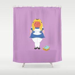 Alice in worriedland Shower Curtain
