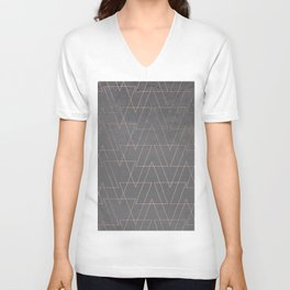 Modern rose gold geometric triangles blush pink abstract pattern on grey cement industrial Unisex V-Neck