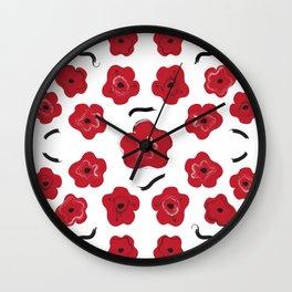 Big Red Flowers Wall Clock