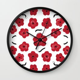 Big Red Flowers Wall Clock