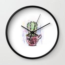 Teacup Cactus - Watercolor & ink Wall Clock