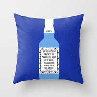 frank sinatra Throw Pillows featuring Frank Sinatra & Jack Daniels by Lil Tuffy