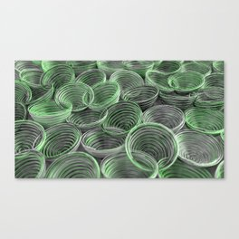 Black, white and green spiraled coils Canvas Print
