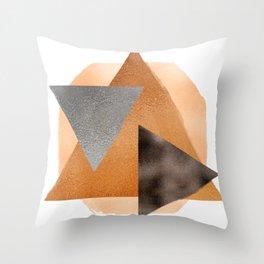 metallic triangles earth Throw Pillow