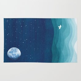 Moon Phase, teal watercolor Rug