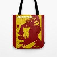 soviet Tote Bags featuring Vladimir Mayakovsky, Soviet Poet by Adam Metzner