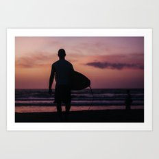 Surfing at Dawn in Cocoa FL USA Art Print