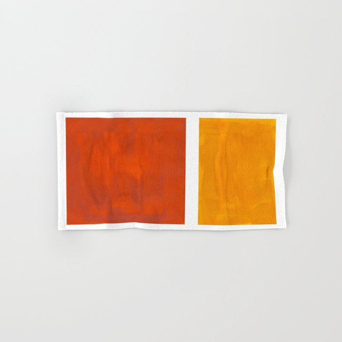 Burnt Orange Yellow Ochre Mid Century Modern Abstract Minimalist Rothko Color Field Squares Hand & Bath Towel
